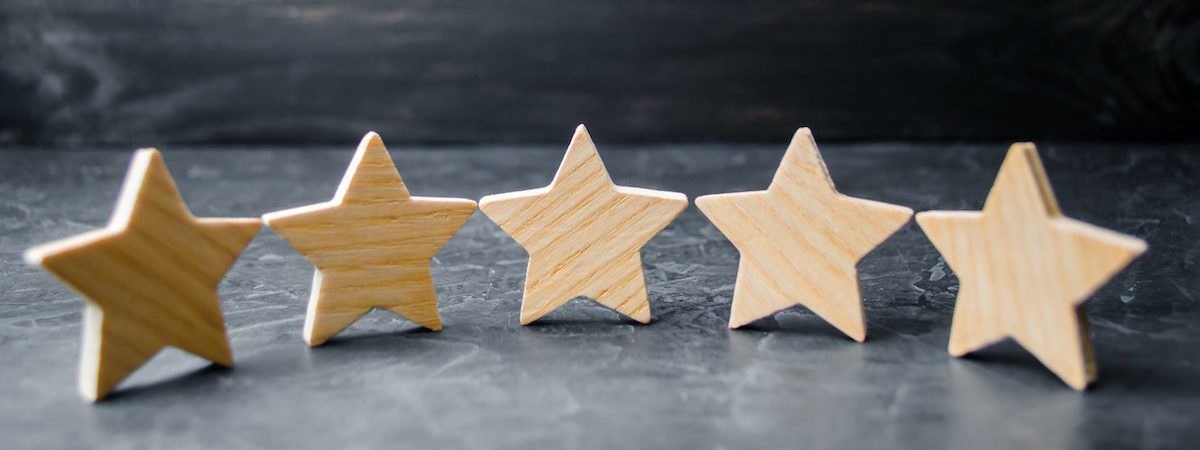 Five wooden stars